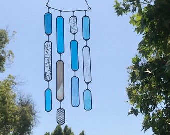 4 String Blue Glass Rectangle  •  Mobile • Suncatcher • Wall Hanging