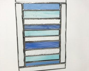 Blue Stripe Stained Glass Suncatcher Panel