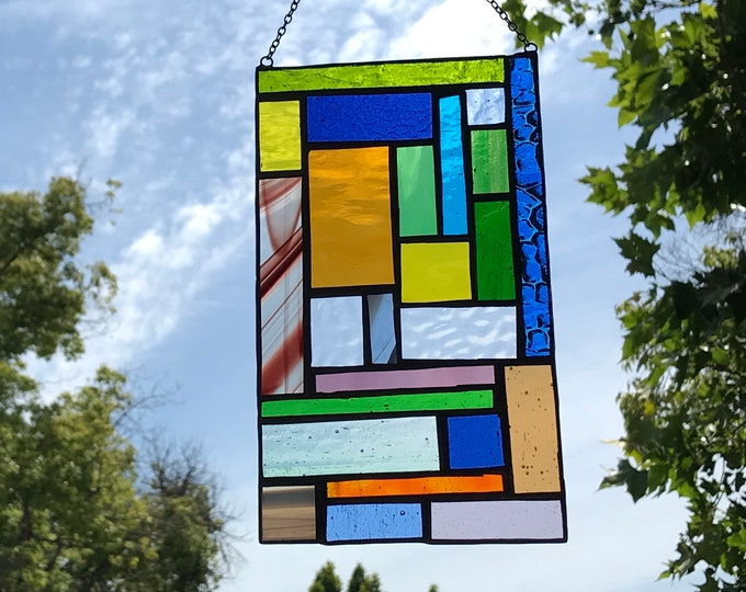 Geometric Stained Glass • Suncatcher • Panel