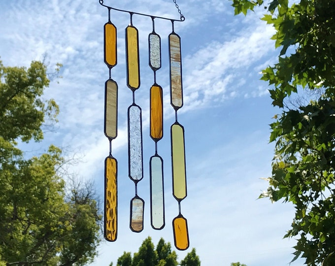4 String Glass Rectangle  •  Mobile • Suncatcher • Wall Hanging