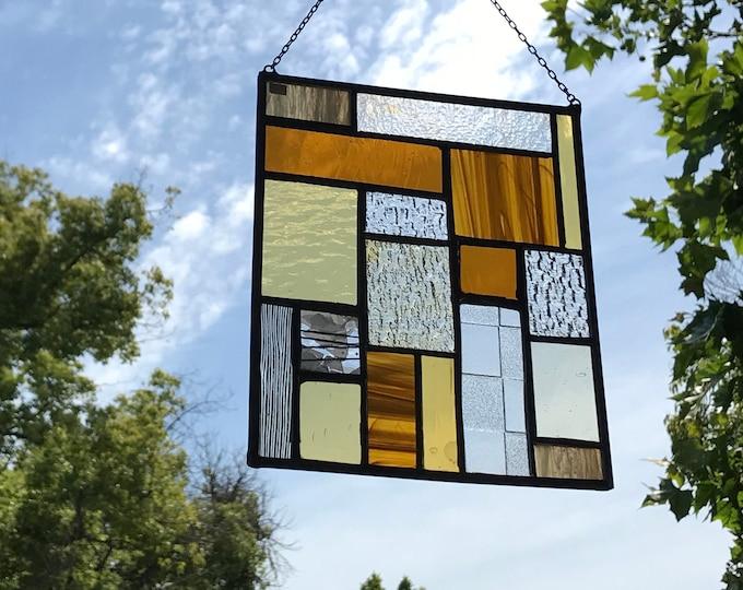 Geometric Stained Glass • Suncatcher • Panel