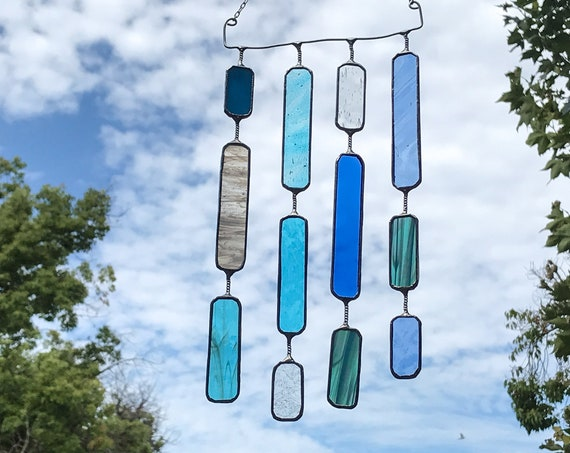 4 String Blue Glass Round Rectangle  •  Mobile • Suncatcher • Wall Hanging
