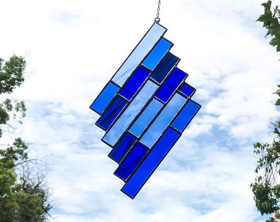 Blue Diamond Stripes • Suncatcher