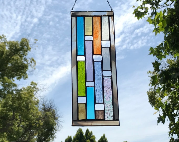 Multicolored Vertical Rectangle Stained Glass Panel • Suncatcher