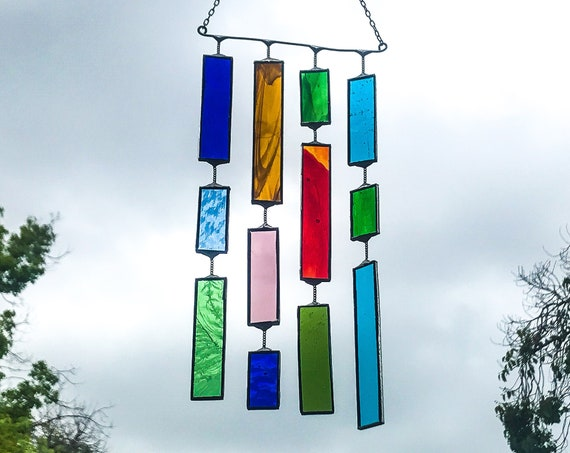 4 String Multicolored Rectangle  •  Mobile • Suncatcher • Wall Hanging