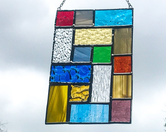 Geometric Squares • Suncatcher • Panel