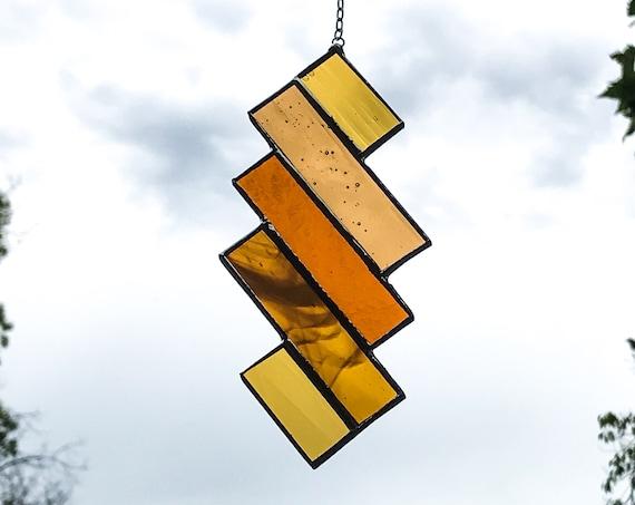 Orange Diamond Stripes • Suncatcher