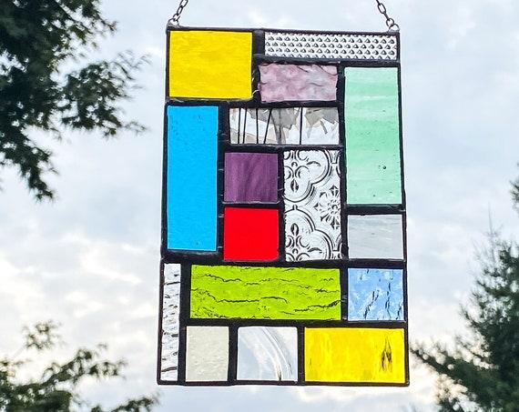 Vibrant Rainbow Geometric Patchwork • Suncatcher • Panel