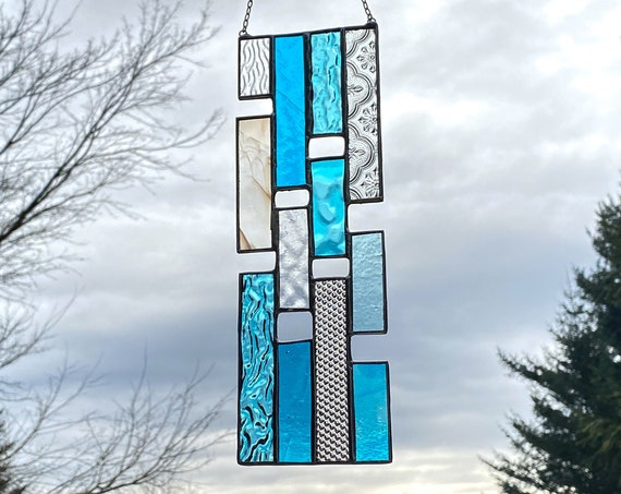 Blue Vertical Stained Glass Panel • Suncatcher
