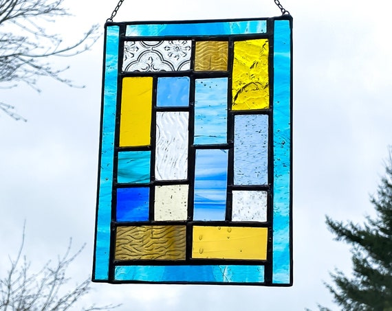 Geometric Blue & Yelllow Squares • Suncatcher • Panel