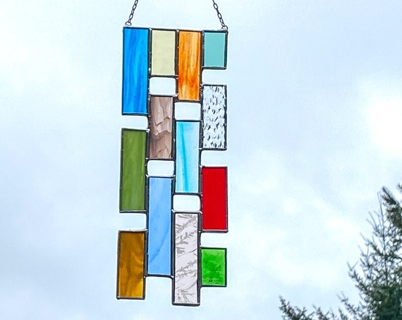 Multicolored Vertical Stained Glass Panel • Suncatcher