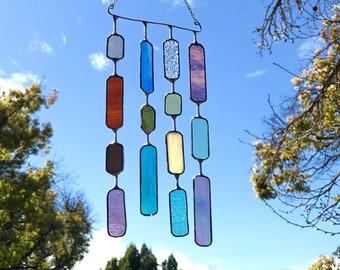 4 String Glass Rectangle  •  Mobile • Suncatcher • Wall Hanging