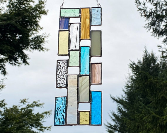 Bright Pastel Toned Vertical Stained Glass Panel • Suncatcher