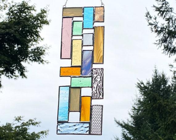 Pastel Toned Vertical Patchwork Panel • Suncatcher
