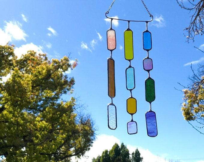 3 String Glass Rectangle  •  Mobile • Suncatcher • Wall Hanging