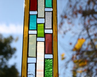 Vertical Rectangle Stained Glass Panel • Suncatcher