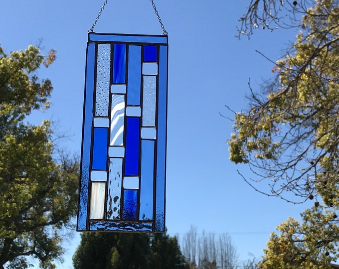 Blue Vertical Rectangle Stained Glass Panel • Suncatcher