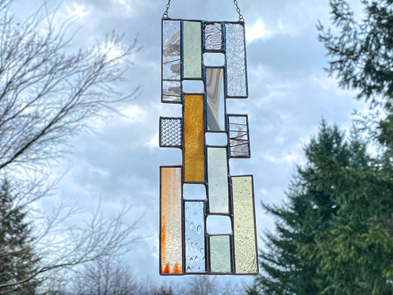 Pastel Vertical Stained Glass Panel • Suncatcher