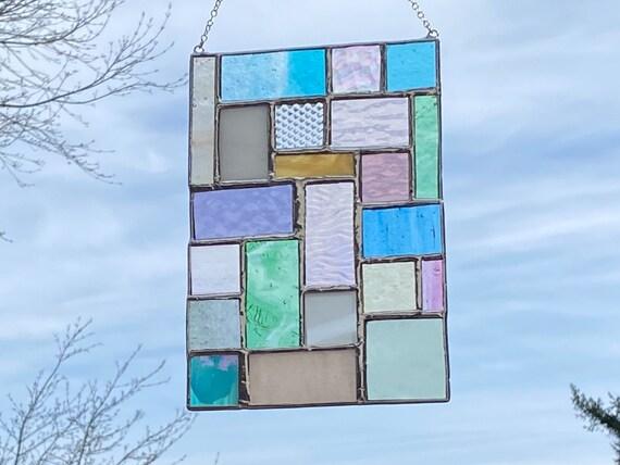 Pastel Toned Geometric Patchwork • Suncatcher • Panel