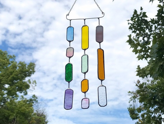 3 String Multicolored Round Rectangle  •  Mobile • Suncatcher • Wall Hanging