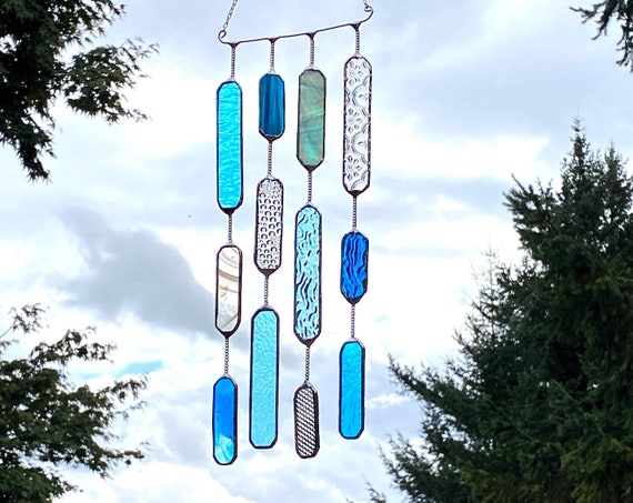 4 String Turquoise Glass Mobile • Suncatcher • Wall Hanging