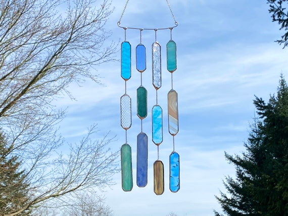 4 String OceanTone Glass Mobile • Suncatcher • Wall Hanging