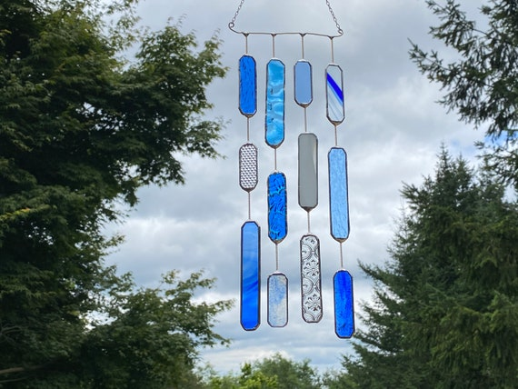 4 String Blue Glass Mobile • Suncatcher • Wall Hanging