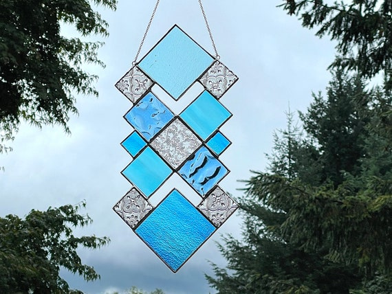 Blue & Turquoise Squares • Large Suncatcher Panel