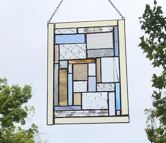 Pastel Textured Geometric Stained Glass Panel