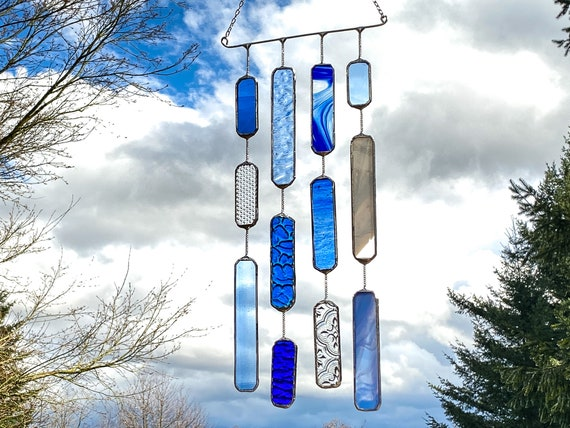4 String Blue Glass Mobile • Suncatcher • Wall Hanging
