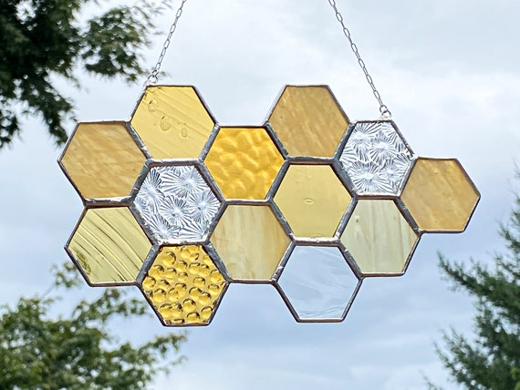 Gold & Yellow Toned Honeycomb Suncatcher