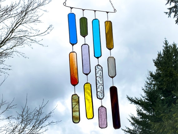 4 String Multicolored Glass Mobile • Suncatcher • Wall Hanging