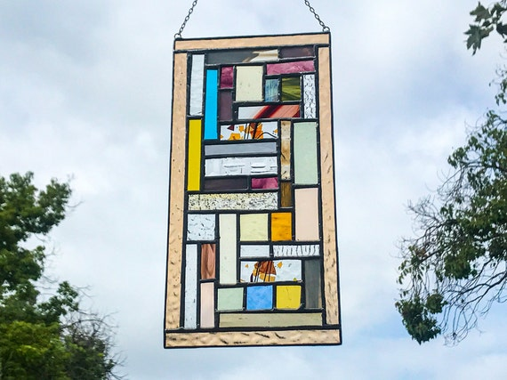 Pastel Patchwork Geometric Stained Glass Panel