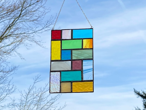 Multicolored  Geometric Squares • Suncatcher • Panel