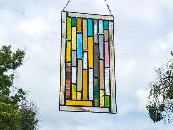 Vertical Geometric Patchwork * Stained Glass Panel