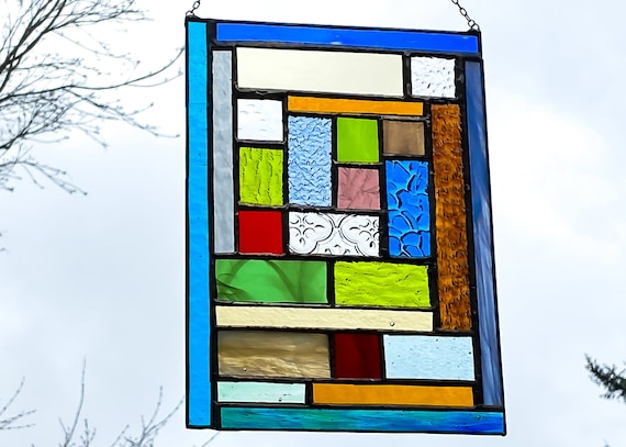 Geometric Patchwork Stained Glass Suncatcher • Panel
