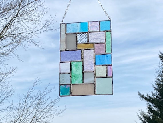 Pastel Toned Geometric Patchwork • Suncatcher • Panel
