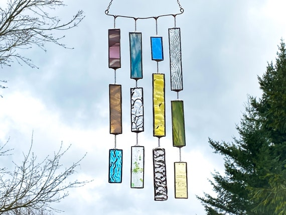 4 String Pastel Hue Glass Mobile • Suncatcher • Wall Hanging