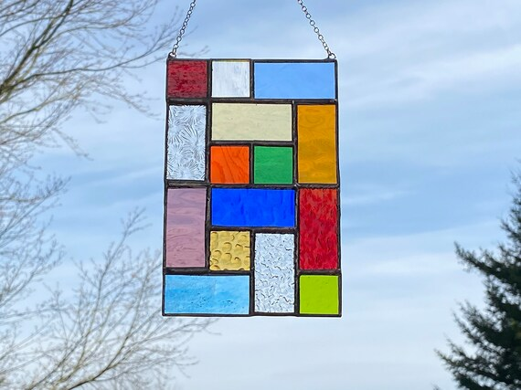 Rainbow Geometric Squares • Suncatcher • Panel
