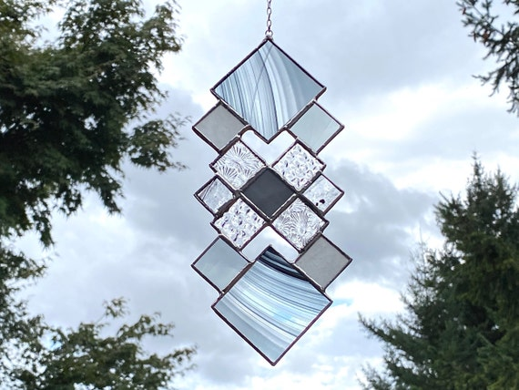 Black & Gray Geometric Diamond Squares • Suncatcher