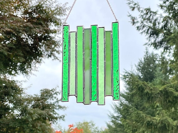 Green Vertical Stripe Stained Glass Panel • Suncatcher