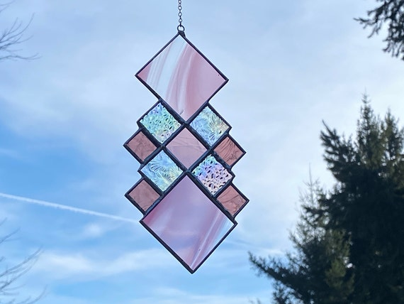Violet Purple Geometric Diamond Squares • Suncatcher