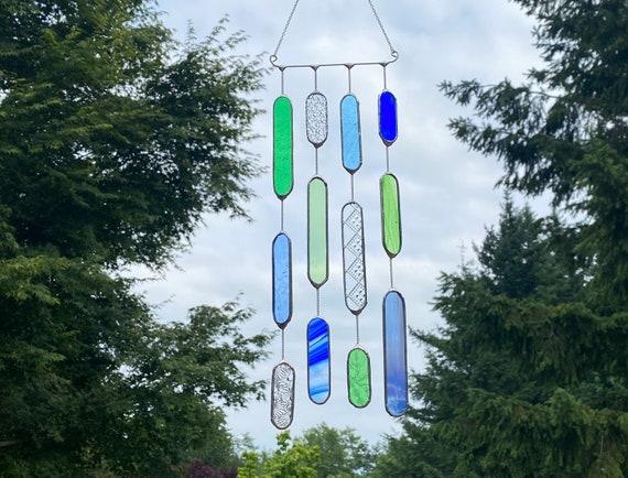 Green & Blue Glass Mobile • Suncatcher • Wall Hanging