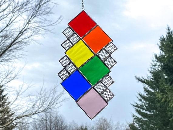 Geometric Rainbow Squares • Suncatcher