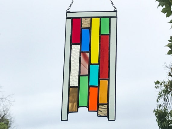 Multicolored Stained Glass Panel • Suncatcher