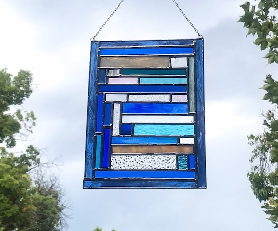 Blue Geometric Stained Glass Panel
