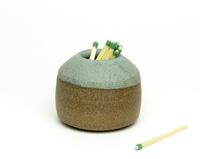 stoneware match striker, matte blue, match strike, stoneware, match strike vase, match striker handmade , grey blue, ceramic match striker