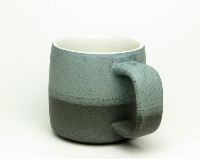 stoneware coffee mug, wheel thrown pottery mug, matte blue, matte grey, studio pottery mug, rustic modern, pottery mugs handmade, coffee mug