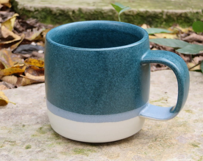 Teal and light grey mug, modern wheel thrown mug, pottery mug handcrafted, matte glaze mug, teal mug, studio pottery mugs, stoneware mugs