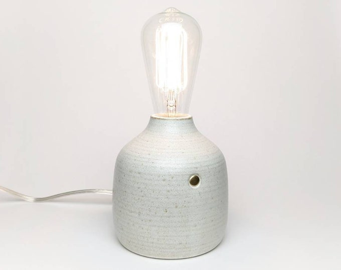 Wheel thrown ceramic touch sensor edison bulb lamp, stoneware lamp with white satin glaze, studio pottery lamp, farmhouse pottery lamp